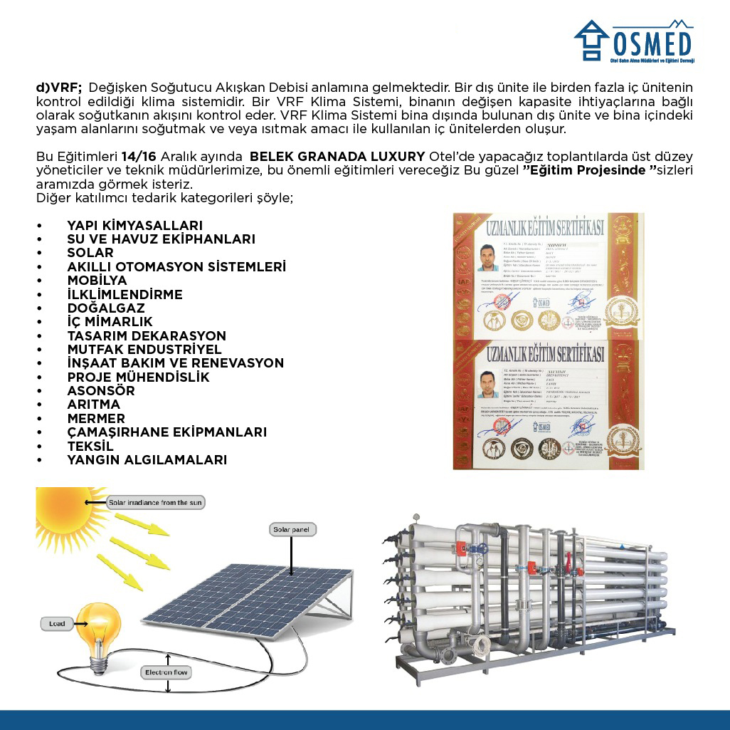 Çeşitli alanlarda enerji tasarrufu önlemleri